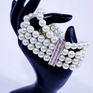 Faux Pearl Stretch Bracelet & Crystal Accents